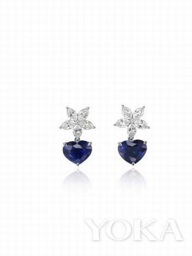 chopard标志性的心形切割蓝宝石耳环