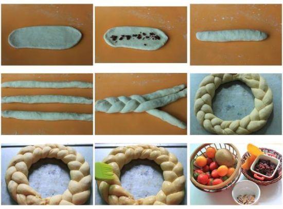 圣诞花环面包制作步骤