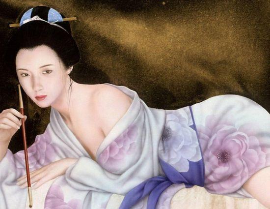 古代美女手绘睡觉
