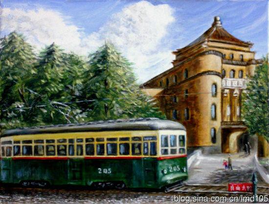 老式火车手绘图片