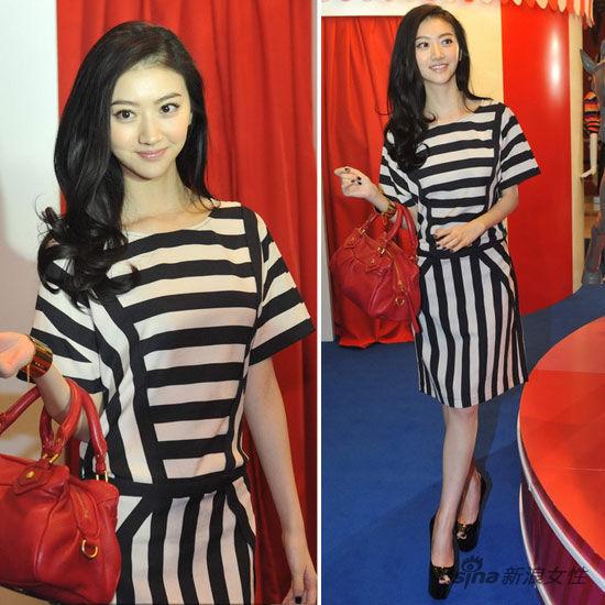 景甜黑白条纹裙甜美可爱