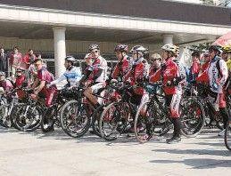 冠军骑行倡导低碳