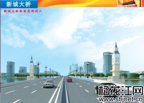 新城大桥桥面透视图