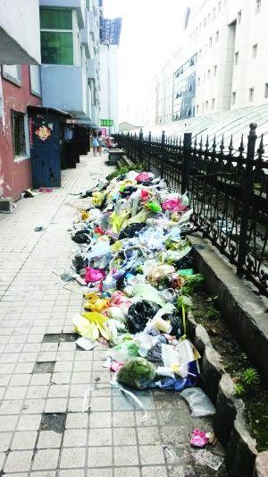 摄影 张扬   居民楼单元门前堆了很多垃圾。