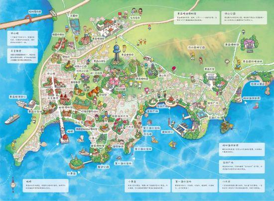 石头人工作室q版青岛手绘地图引网友围观